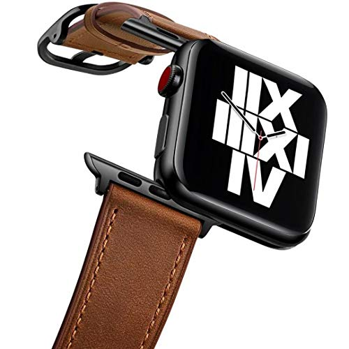 Fengyiyuda Compatibile con Cinturino Apple Watch 42mm/44mm, Cinturino di Ricambio Lo Sport in Pelle per Iwatch 5/4/3/2/1,Retro Brown