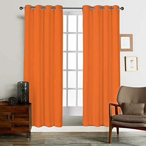 Tiny Break Room Darkening Eco friendly & Safe, 72 inch long 100% Natural Cotton living room and bedroom Curtain, Orange, Set of 2 Panels