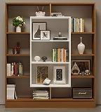 HOMIDEA Venus Libreria - Scaffale per Libri - Scaffale per Ufficio/Soggiorno dal Design Moderno (Noce/Bianco)