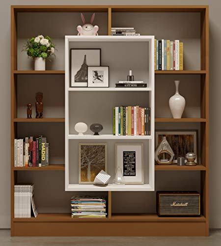 HOMIDEA Venus Bibliothèque - Étagère de Rangement - Étagère pour Livres - Étagère pour Bureau/Salon par Le Design Moderne (Noyer/Blanc)