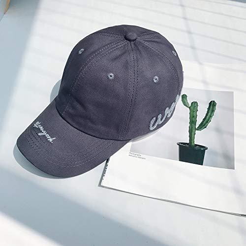 geiqianjiumai Sonnenschutzhut Damenkappe einfach Outdoor blau schwarz Softtop Baseballmütze Trend Herren grau einstellbar