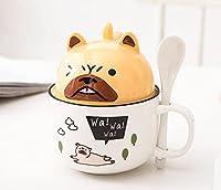 かわいい大容量コーヒーカップマグカップパーソナリティクリエイティブトレンドセラミックカップスプーン蓋付き