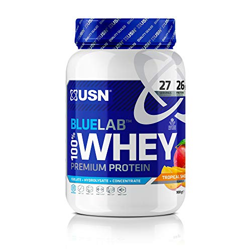 USN Whey Protein Powder: Blue Lab Whey Tropical Smoothie 908 g, Post Workout Muscle Recovery