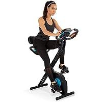Klarfit Azura Plus Black Edition - Bicicleta Estática 3 en 1 - Bicleta de gimnasio, Ejercicio fitness, Transmisión por correa, Frecuencia Cardíaca, Resistencia magnética 8 etapas, Soporte, Negro