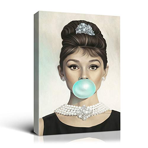 Denozer Audrey Hepburn Bubble Gum Chewing Gum Black and White Canvas Print Home Decor Wall Art Gallery Wrapped Canvas Ready to Hang - 12x16 inches