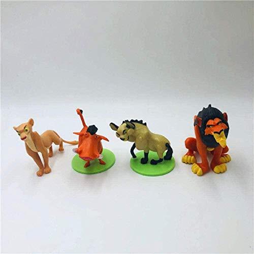 FJKYF Anime Models 4 Pieces / Set The Lion King Action Figures Simba Mufasa Nala Hyenas Timon Pumbaa Sarabi Sarafina Scar PVC Action Figure Dolls Toys 5-7 Cm