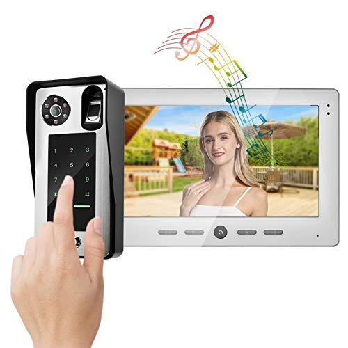 Timbre WiFi Cámara Videoportero con Cable, con Pantalla Interior de diseño(European Standard (100-240v))