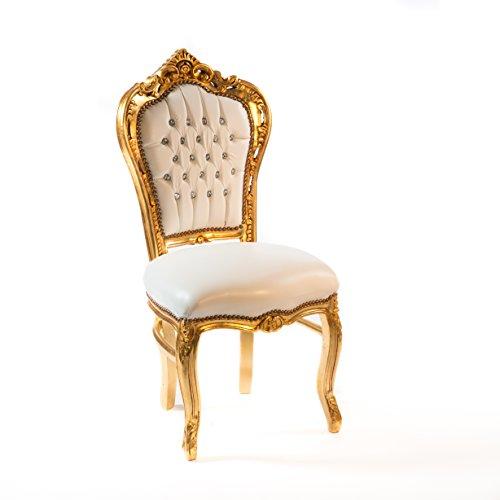 Way Home Store Chaise baroque style Français Louis XVI or et simili cuir blanc