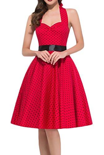 Saoye Fashion Vestidos Mujer Verano Vestidos De Fiesta Elegantes Sin Mangas Atado Al Cuello Cintura Alta Vestidos Años 50 A-Lìnea Vintage Lunares Vestido Coctel por La Rodilla