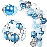 HONGECB Kit De Guirnalda De Globos, Arcos De Globos, Decoraciones Para Fiestas, Globos Azules Blancos Plata, Confeti Globos, Para Bodas, Cumpleaños, Aniversario, Fiesta, Graduación, 63 Piezas