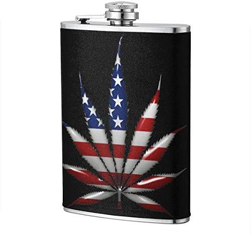 Marihuana-USA-Flachmann-Wein-Flagon-Becher-lustige Neuheit 8oz