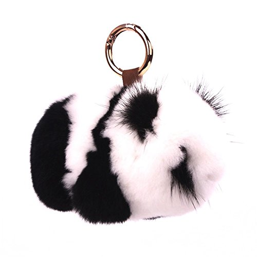 KUMEED Panda Fur Pompom Rex Panda Fuzzy Panda Keychain Bag Pendant for Women