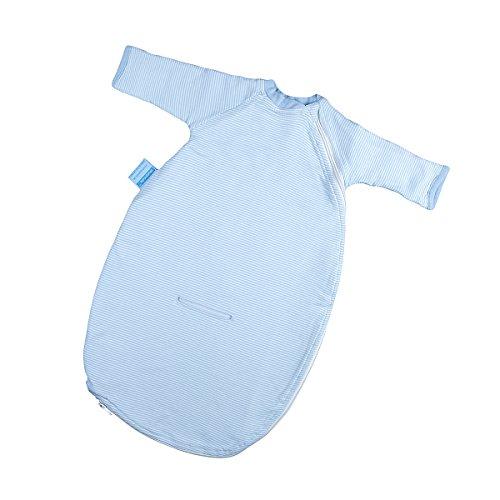 Hoppediz babyslaapzak met riemgleuf voor auto-kinderzitjes en praktische omslagmanchetten 86-98 lichtblauw