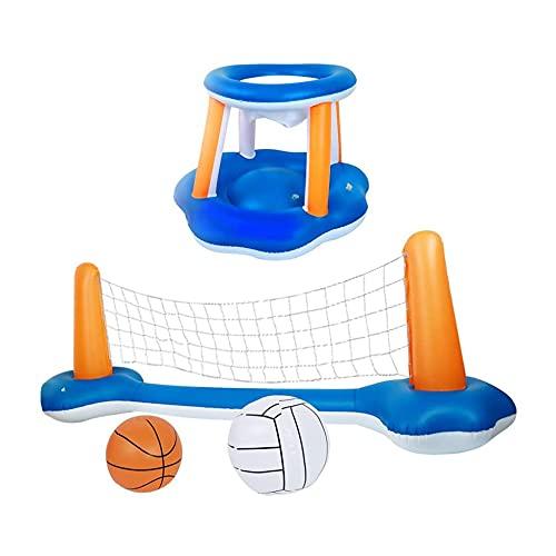 Flotador inflable de la piscina Set Voleibol Red y Aros de Baloncesto Piscina Flotante Juego de Natación Juguetes Deportes Acuáticos Para Adultos