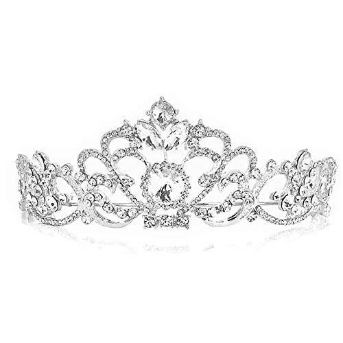 [ローアスポス] ティアラ レディース 花嫁 クラウン パーティー 結婚式 ヘアアクセサリー (D02 Heart+Silver)