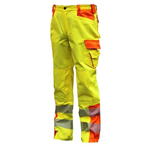 NEU! ELDEE YO-HiViz Bundhose, Warnschutzhose, gelb/orange mit Reflexsteifen, Gr. 48 - 62 (52)