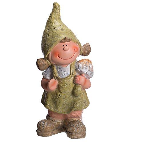Sarah B schöne Wichtel Figur Mädchen NF87121 48 cm hoch,von Hand bemalt, Gartenfigur, Deko, Dekorationsfigur für Innen und Außen, Polyresin, Gartendekoration, Gartenfigur, Skulptur