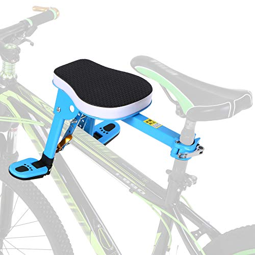 Explopur Asiento infantil para bicicleta - Asiento delantero para bicicleta para niños Soporte para niños Asiento delantero de seguridad para niños Cojín de silla de montar para bicicleta de montaña -