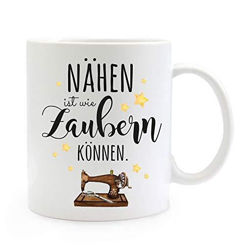 ilka parey wandtattoo-welt Tasse Becher mit Spruch nähen ist wie Zaubern können & Nähmaschine Motiv Sterne Kaffeebecher Geschenk Spruchbecher ts1070 - ausgewählte Farbe: *weiß*