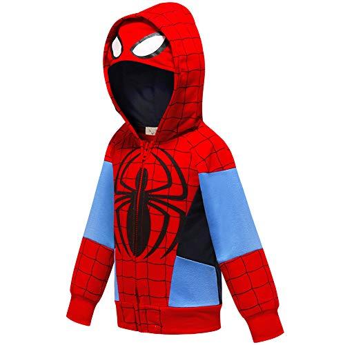 Ragazzi Felpa con Cappuccio Spiderman T-Shirt Unisex Camicie Bambino Hoodie Pullover Autunno T-Shirt Inverno Maniche Lunghe Maglietta Giacchino (C SD,120cm)