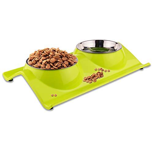 ShareWe Cuencos Doble para Perro Gato Animal Mascotas Cuencos Alimento Agua Platos de Acero Inoxidable con Diseño Antideslizante y Antiderrames (Verde)