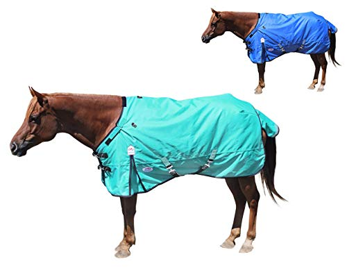"""Derby Originals Extreme Elements 1200D Ripstop Waterproof Horse Blanket with 2 Year Warranty - 300g Polyfil Heavyweight Winter Turnout Blanket, Turquoise with Black Trim, 75"""" (80-8042V2-TRQ-75)"""