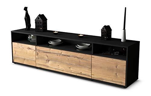 Stil.Zeit TV Schrank Lowboard Bianca, Korpus in anthrazit matt/Front im Holz-Design Pinie (180x49x35cm), mit Push-to-Open Technik, Made in Germany