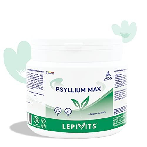 Psyllium Max | Fibras de psyllium rubio | 250 g de polvo orgánico | Ayuda al buen funcionamiento del tránsito intestinal | Fabricado en Bélgica | Lepivits