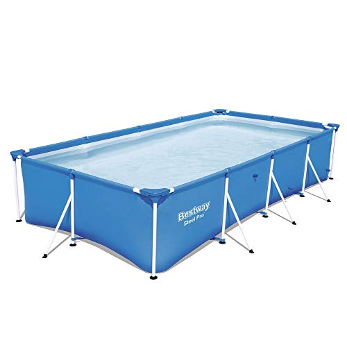 Bestway 56512E Steel Pro 13ft x 7ft x 32in Outdoor Rectangular Frame Above Ground Swimming Pool, Blue (Pool Only)