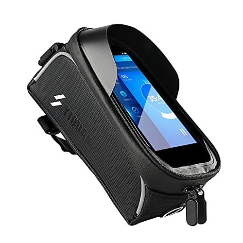 Borsa per telefono con telaio anteriore per bicicletta, 2021, impermeabile, con supporto per bicicletta, 8 × 4 × 3,15 cm