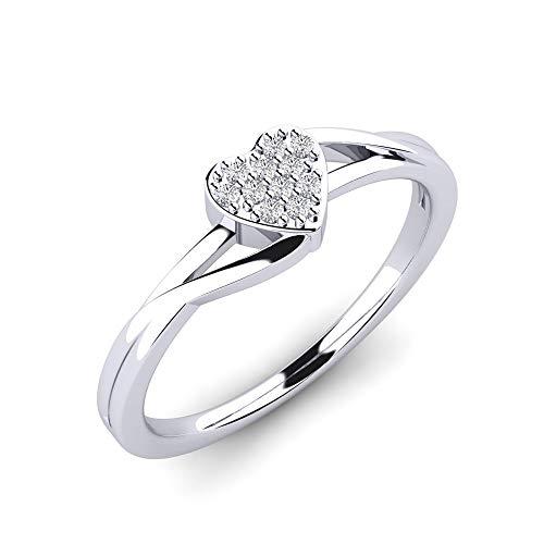 Anillo de diamantes Vanessita con 11 diamantes VS 0,066 ct de plata 925 - Anillo de plata con una delicada forma de corazón y piedras - Anillo de diamantes
