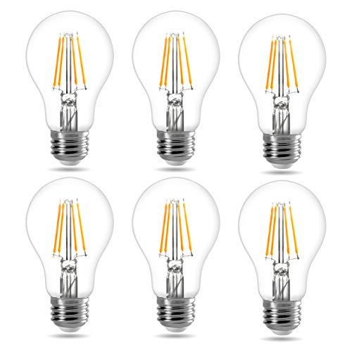 LE E27 LED filamentlamp, 7W 806 Lumen klassieke lamp gloeilamp in de vorm van een peertje, 2700 Kelvin warm-wit, vervangt 60 Watt, filamentstijl helder, pakket van 6 stuks
