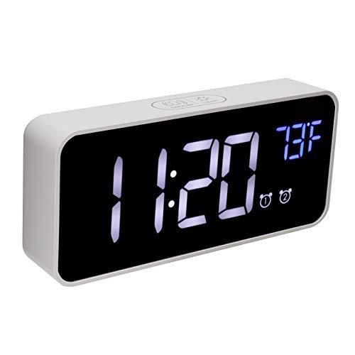 Despertador Digital LED, Despertadores de cabecera con termómetro y Carga USB para la Oficina del Dormitorio(Blanco)