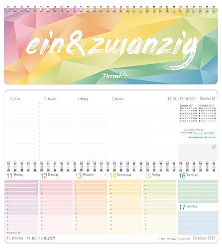 Rainbow Wochen-Tischkalender 2021 im Quer-Format zum Aufstellen | 1 Woche 2 Seiten | Wochenkalender 29,7 x 10,5 cm | Schreibtisch-Kalender mit Sprüchen | nachhaltig & klimaneutral