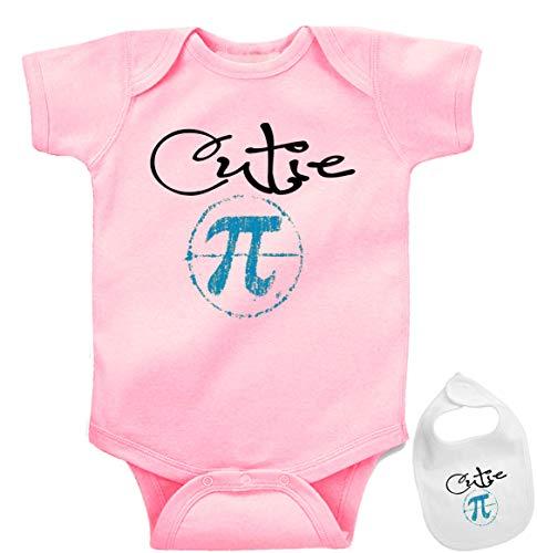 Cutie Pi (Pie), Cute Boutique Baby Bodysuit Onesie & Matching bib Pink