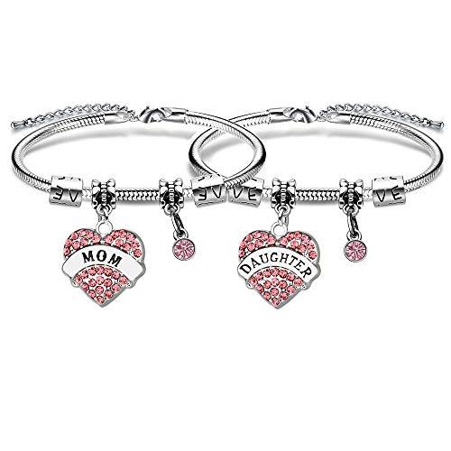 Pulseras ajustables de cristal con forma de corazón para madre e hija
