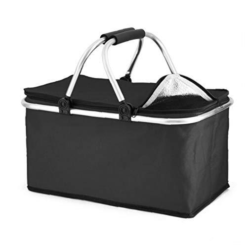 Extra-30L große Kühlkühler Cool Bag Box Picknick Camping Essen Eisgetränk Mittagessen, Schwarz