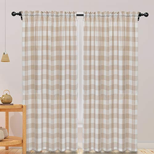 NATUS WEAVER Cotton Curtains Beige and White Buffalo Gingham Check Curtain Panels 95 inches Long Living Room Drapes Plaid Checker Kitchen Bedroom Window Treatment Set 2 Panels Rod Pocket