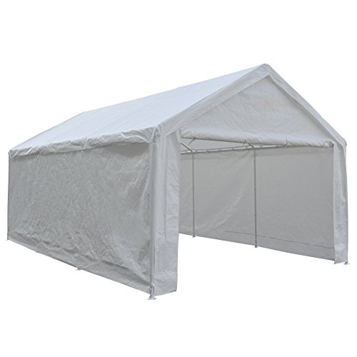 Abba Patio Heavy Duty Carport with Removable Sidewalls Portable Garage Car Canopy Boat Shelter Tent for Party, Wedding, Garden Storage Shed 8 Legs, 12 x 20 Feet,White