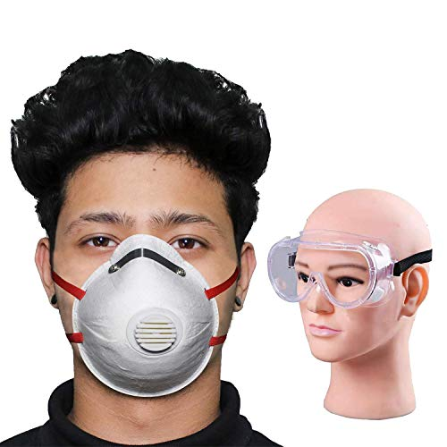 Thump Combo of 1 Piece Goggle O2 ORCSW01 6 Layer Face Mask Cup Shape with Filter & Nose Pin Mouth Respirator for Men & Women (1 PC)