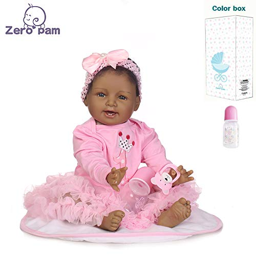 Zero Pam Reborn Toddler African American Reborn Baby Girl Doll Black Soft Body Weighted Baby Dolls 22 Inch for Kids with Accessories