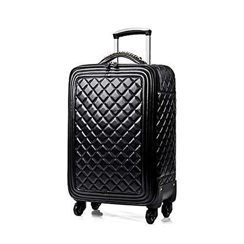 Fashion Pu Leather Rolling Luggage Set with Handbag Women Men Travel Suitcase Bag Luxury Brand Trolley Luggage 16/20/24 Inch 24' Black(Single)