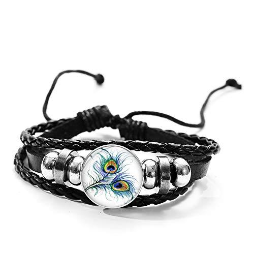 RelianceUK Vintage Peacock Feather Bracelets for Women Detachable 18Mm Glass Cabochon Button Charm Braided Pu Leather Bracelet