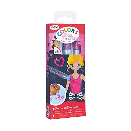 Aladine - Colors Glitter Marker Fashion - Crayons Gel Paillettes - Loisirs Créatifs Enfant - 3 Crayons pour Faire Briller les Dessins - Couleur Jaune + Rose + Violet - À partir de 5 Ans
