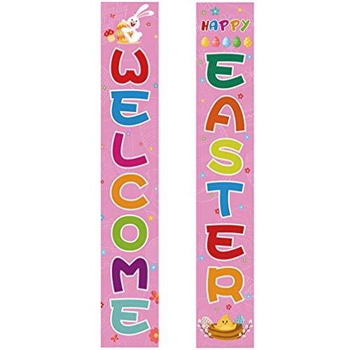 GARNECK 1 par de Pórtico de Pascua Signo de Bienvenida Banner de Feliz Patio de Pascua Banner de Puerta Couplet para Primavera Pascua Estilo de Decoración de Jardín Al Aire Libre 4