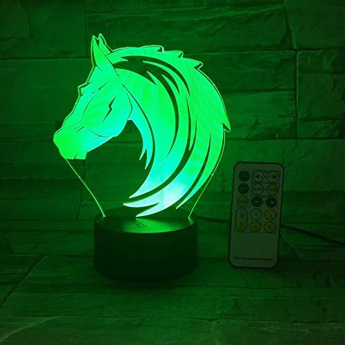 Cabeza de caballo Lámpara de ilusión 3D Luz de noche 3D para niños Niñas Lámpara de escritorio de mesa 16 Cambio de color Lámpara de decoración Regalos Festival de cumpleaños Navidad para adolesc