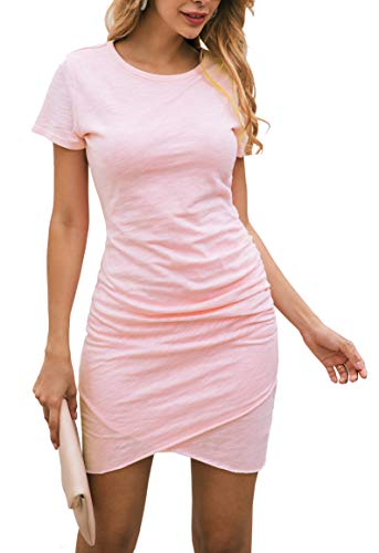 BTFBM Women's 2020 Casual Crew Neck Ruched Stretchy Bodycon T Shirt Short Mini Dress (104Pink, Medium)