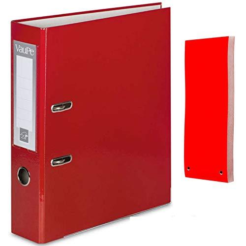 Carpeta archivadora de anillas con palanca y 5 separadores de archivos, tamaño A4, color rojo