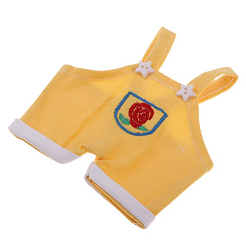 Baoblaze Mini Puppenkleidung Latzhose Overalls Trägerhose Hose Bekleidung für 1/8 BJD MSD Puppen Kostüme - Gelb