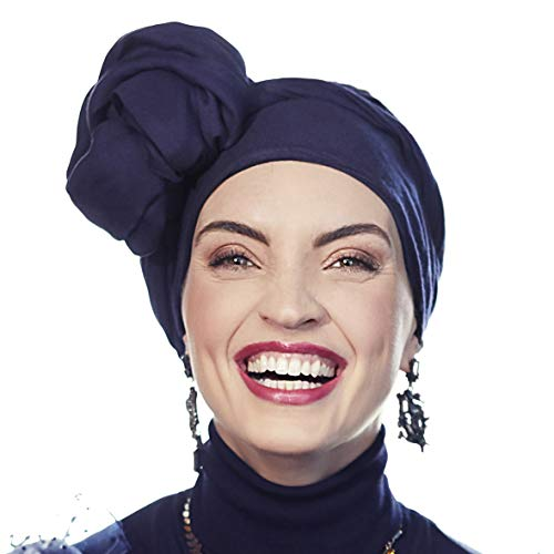 Christine Headwear Espectacular Turbante Sapphire con su Banda Amovible y Ajustable (Negro Iris)